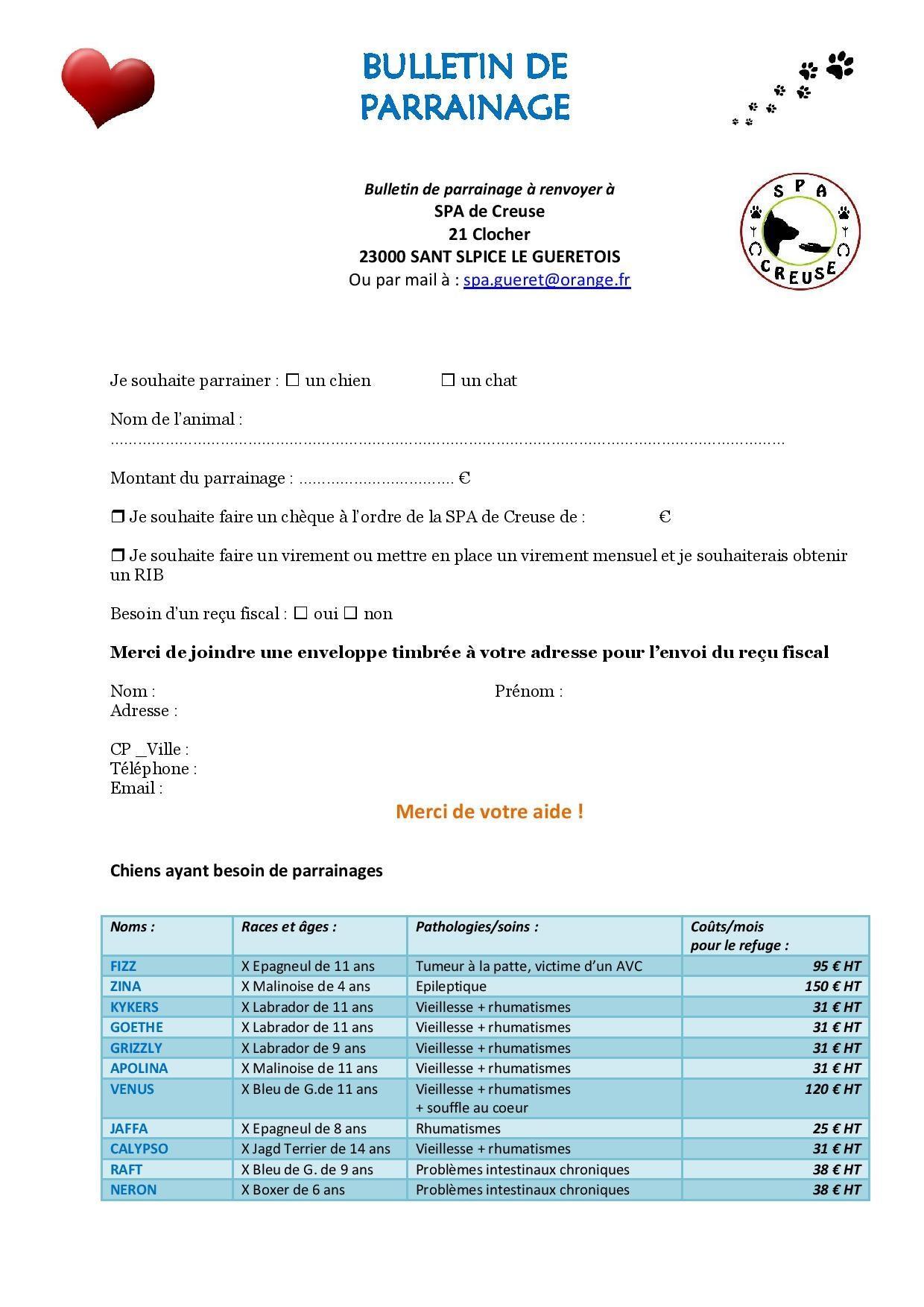 Bulletin de parrainage 2021 page 001